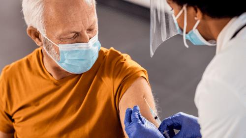 Senior getting vaccines